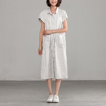 Cotton Polo Collar Light Gray Short Sleeve Dress