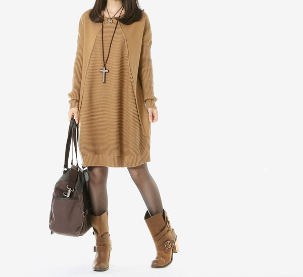 Casual Loose Cotton Knitting Sweater Dress