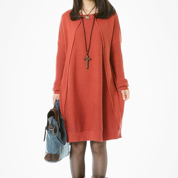 Casual Loose Cotton Knitting Sweater Dress Red