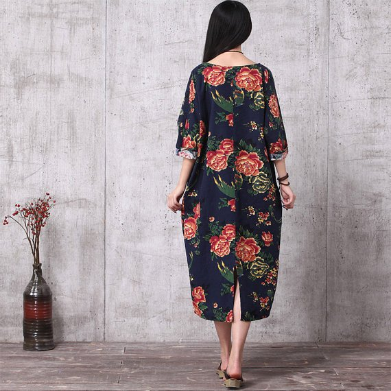 Casual Loose Fitting Oversized Cotton And Linen Long Dress