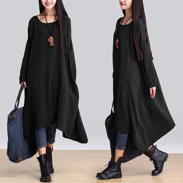 Casual loose Irregular linen long sleeve dress - Buykud