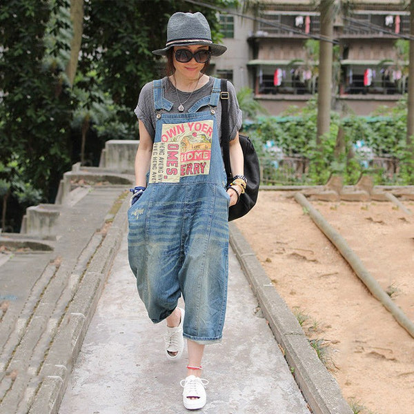 Casual loose jumpsuit denim overall - Buykud