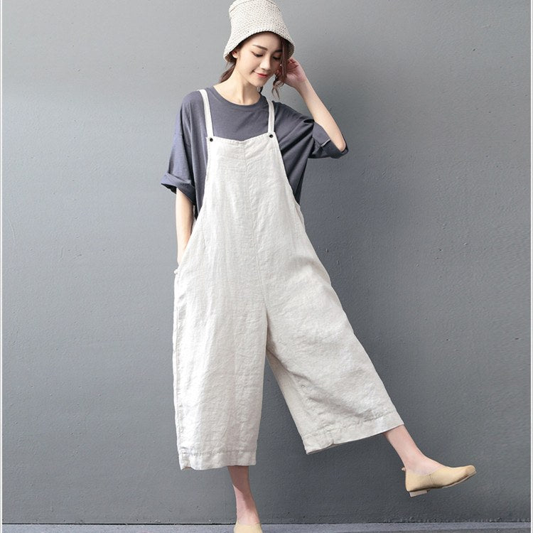 Casual loose jumpsuit linen overall u2013 Buykud