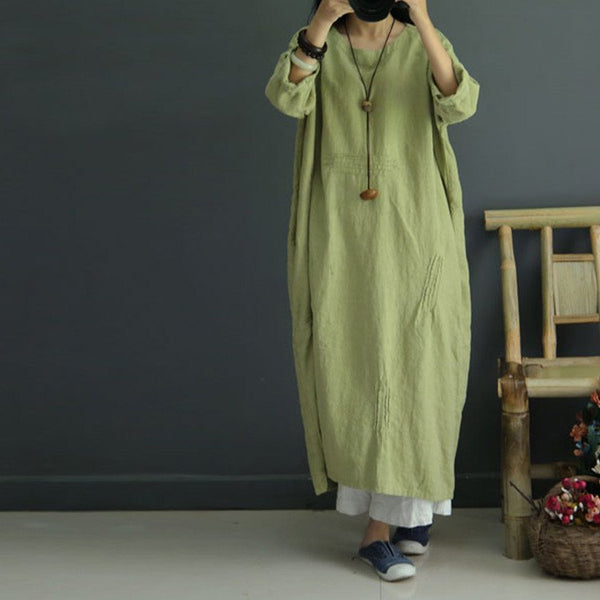 Casual Loose Retro Linen Autumn Dress