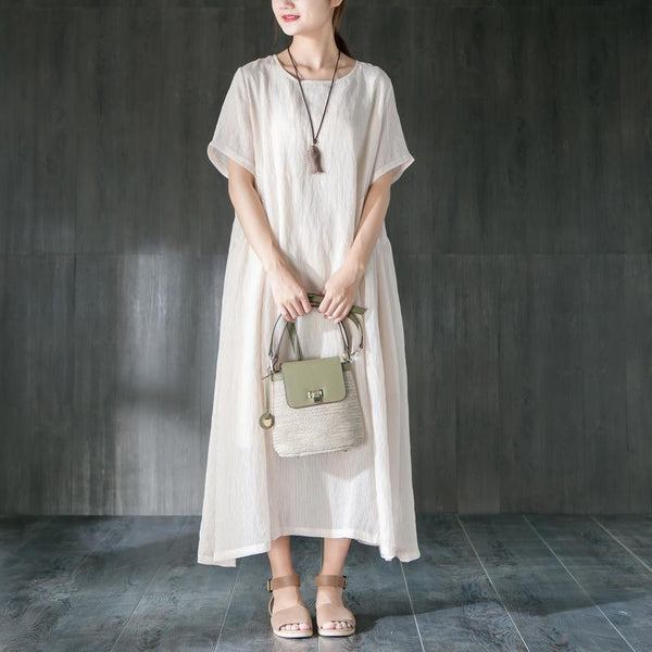 Casual Beige Short Sleeve Cotton Loose Dress