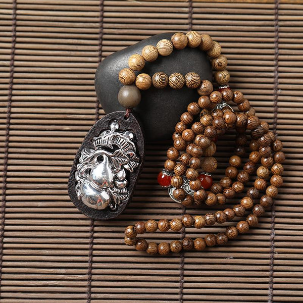 Ethnic Necklace with Silver Gourd Wood Beads Pendant