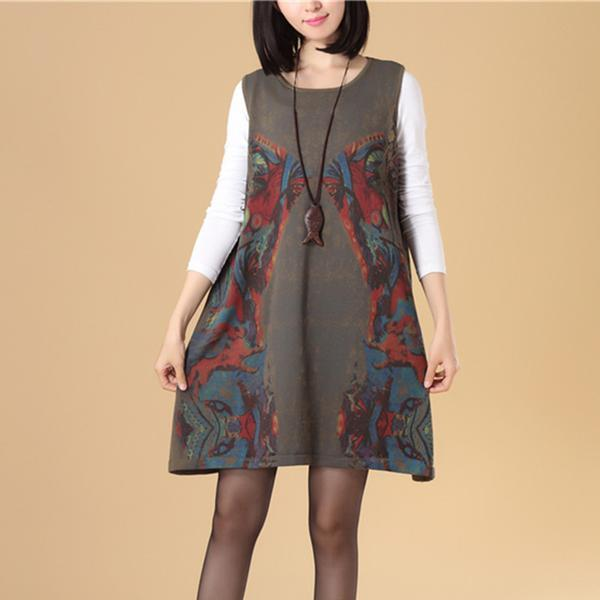 Autumn Women Round Neck Sleeveless Colorful Printing Sweater Dress