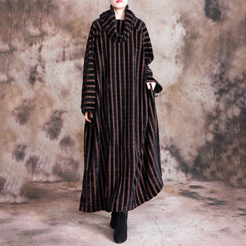 Buykud Loose Split Hem Bat Sleeve Casual Stripe Dress