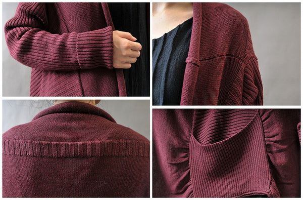 Coat - Plus Size Loose Fitting  Sweater  Coat