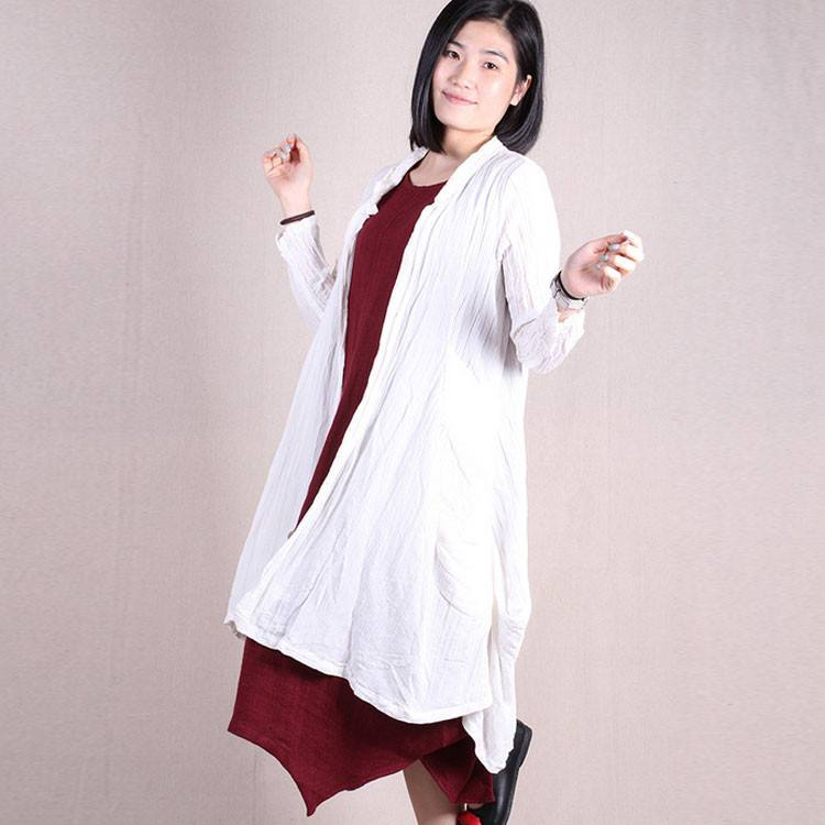 Women 3/4 sleeve button cardigan stretch irregular linen tuck coat with pockets - Buykud