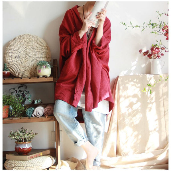 Coat - Women Cotton Linen Loose Cardigan Long Sleeve Coat