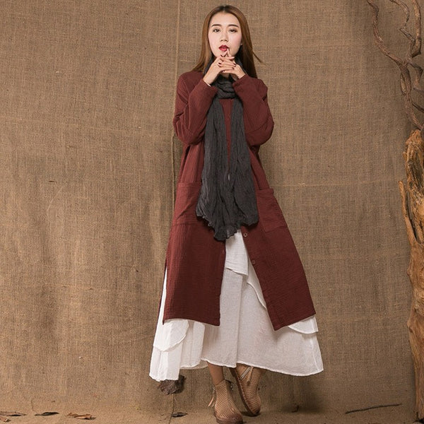 Coat - Women Cotton Linen Loose Coat