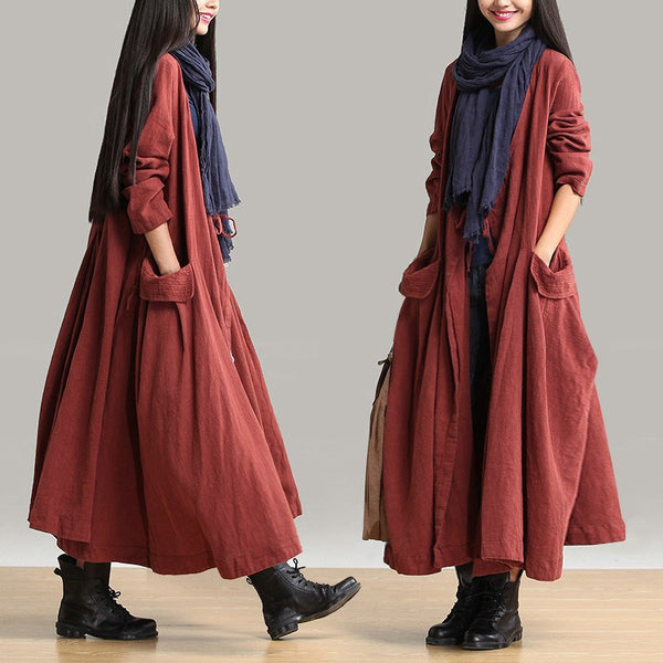 Coat - Women Cotton Linen Loose Fitting Winter Long Coat