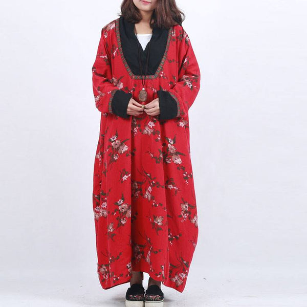 Coat - Women  Red Ethnic Style Floral Printing Loose Cotton Linen Overcoat