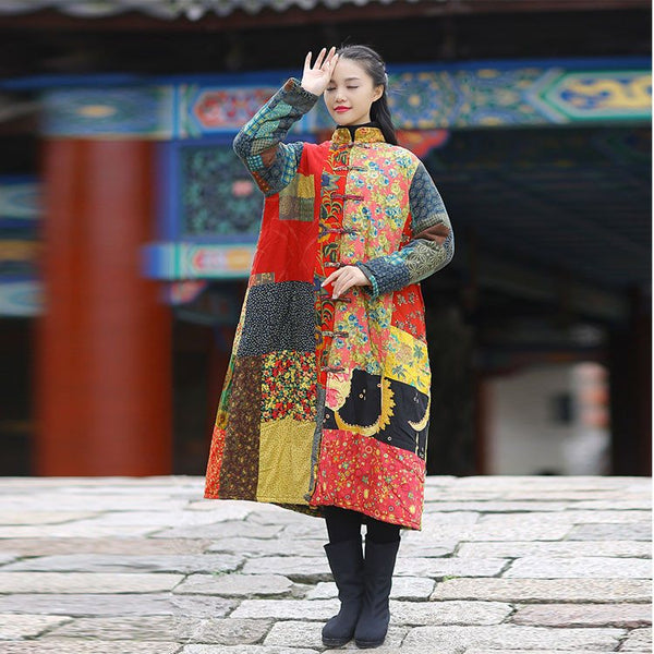 Coat - Women Winter Ethnic Style Mixed Color Printing Cardigan Cotton Linen Long Overcoat