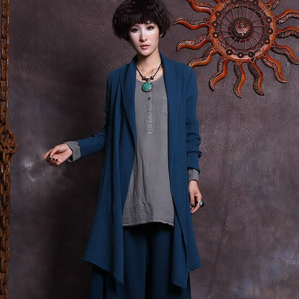 Coat - Women Winter Irregular Cardigan Cotton Long Coat