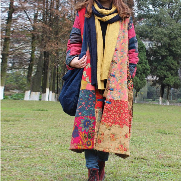Women winter retro style cardigan cotton linen Overcoat - Buykud