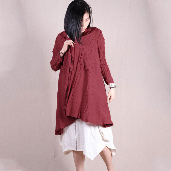 Women long sleeve loose irregular pleat button cardigan linen shirt - Buykud
