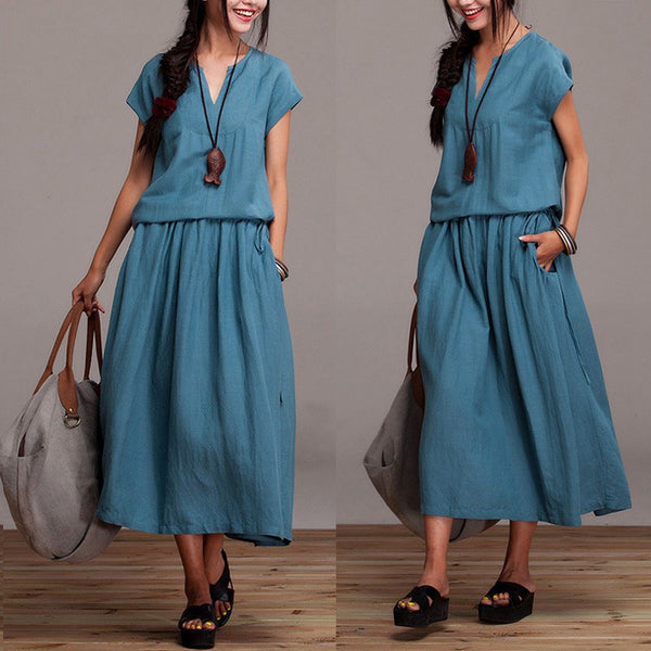 Cotton Linen Dress Summer Short Sleeve