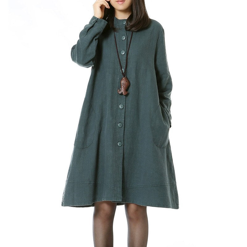 Cotton Linen Long Sleeve Dress