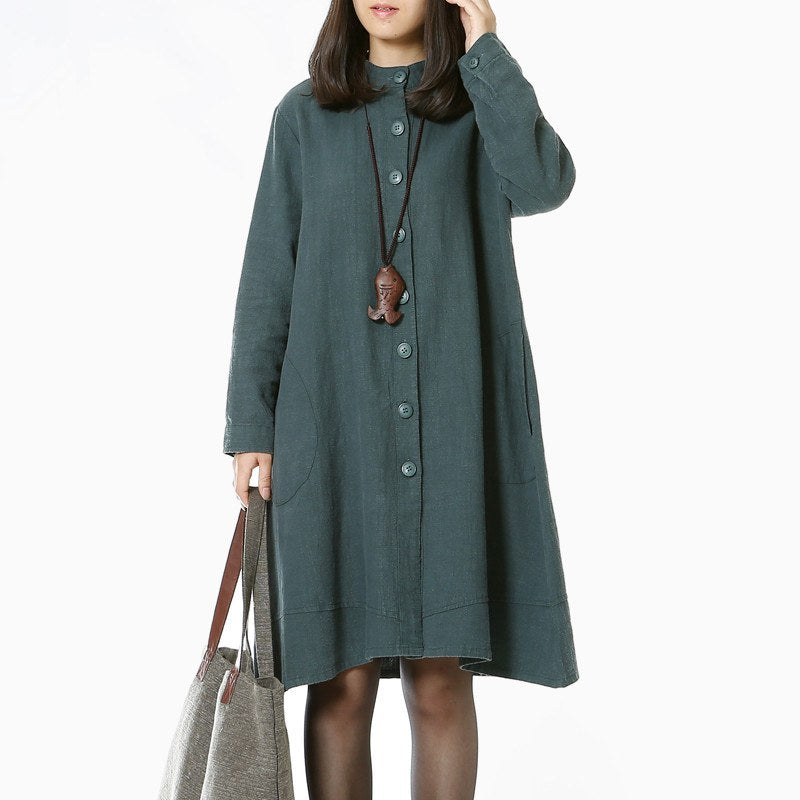 Cotton linen long sleeve dress - Buykud