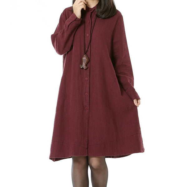 Cotton Linen Long Sleeve Dress Wine Red