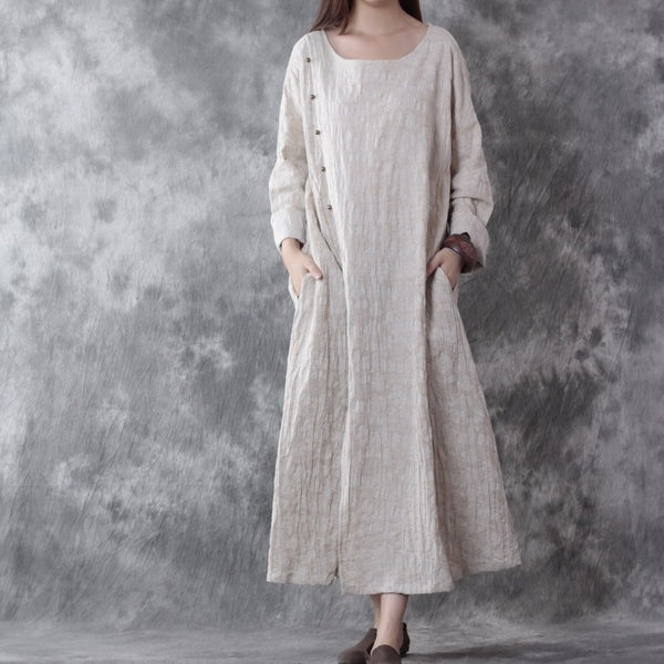 Cotton Linen Loose Autumn Long Sleeve Dress