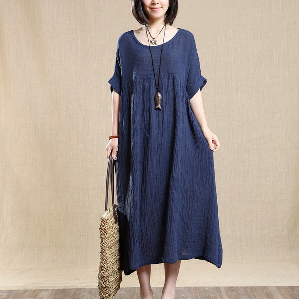 Cotton Linen Loose Dress Short Sleeves - Buykud