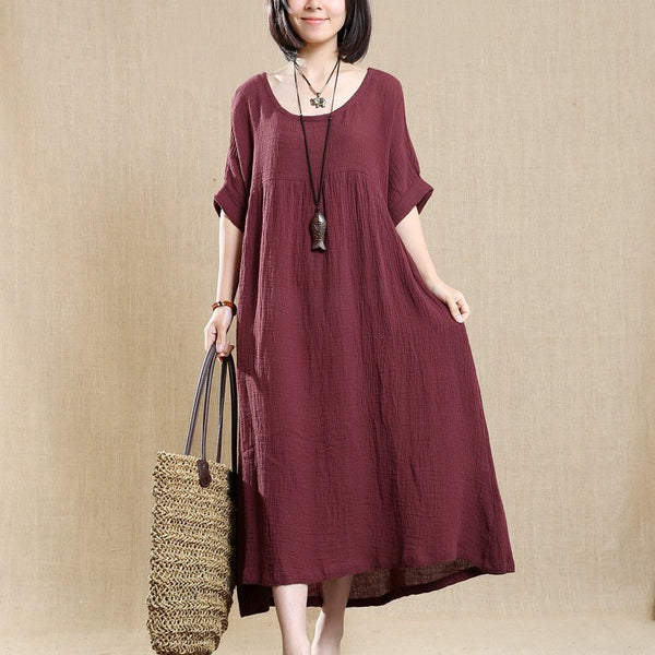Cotton Linen Loose Dress Short Sleeve