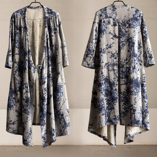 Cotton linen loose fitting coat - Buykud