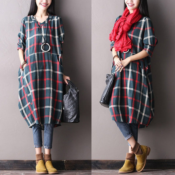 Cotton Linen Loose Fitting Long Sleeve Dress