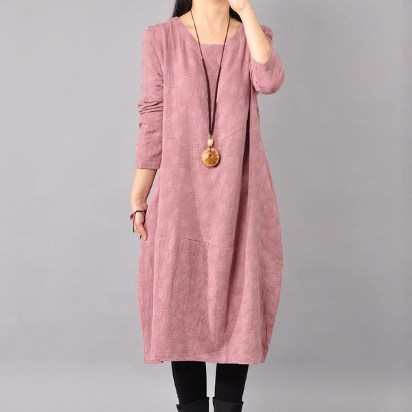 Cotton linen loose fitting long sleeve maternity dress - Buykud