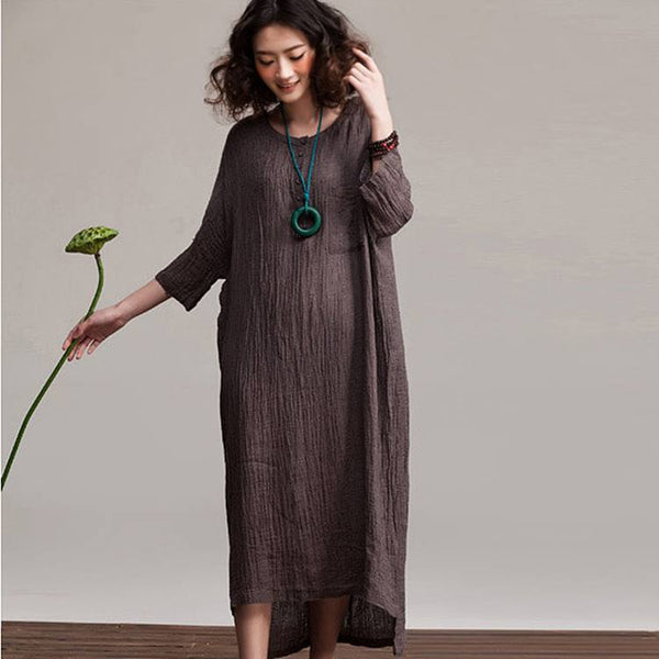 Cotton Linen Loose Fitting Maxi Dress
