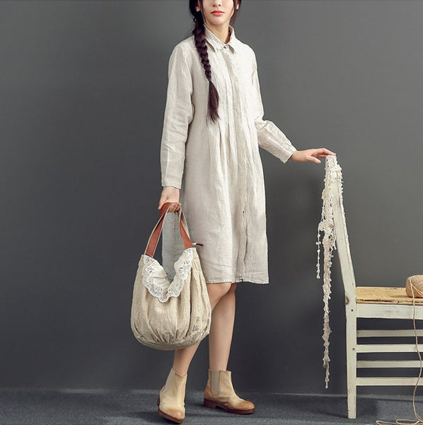 Cotton Linen Loose Fitting Shirt Dress