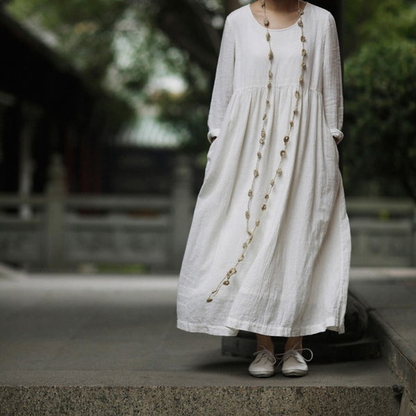 Cotton linen loose fitting white maxi dress long sleeve - Buykud