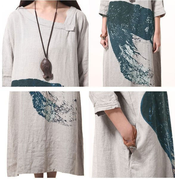 Cotton linen loose print maxi dress - Buykud