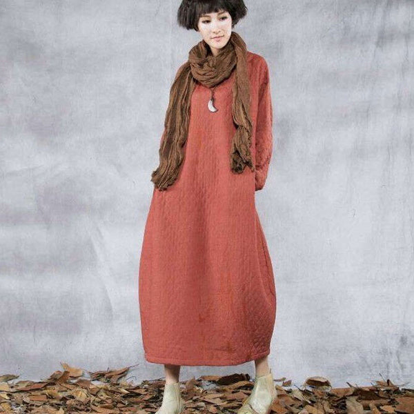 cotton linen winter warm dress