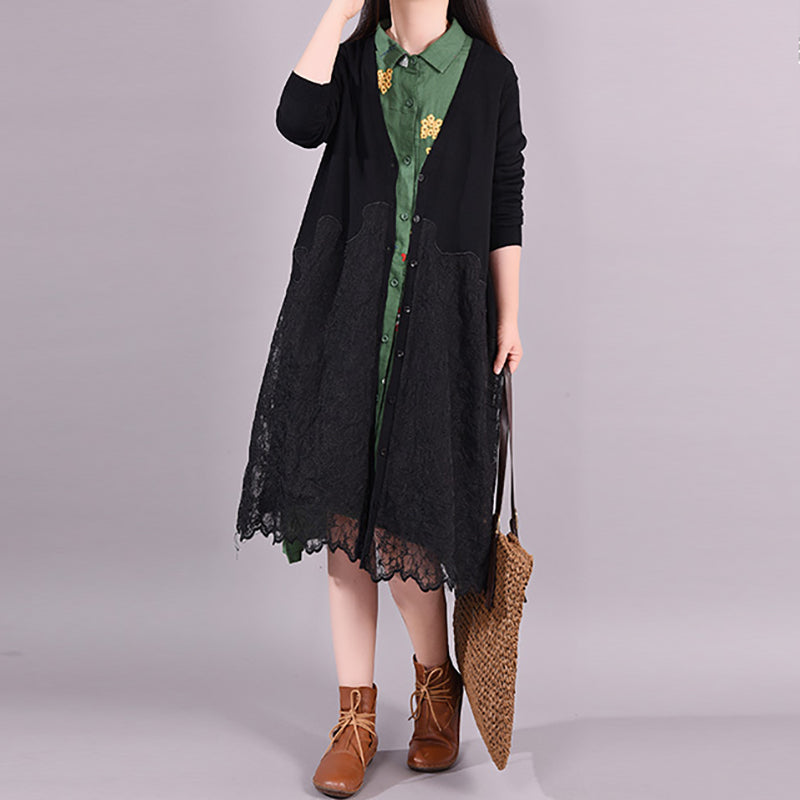 Buykud Lace Stitching Casual Elegant Loose Coat