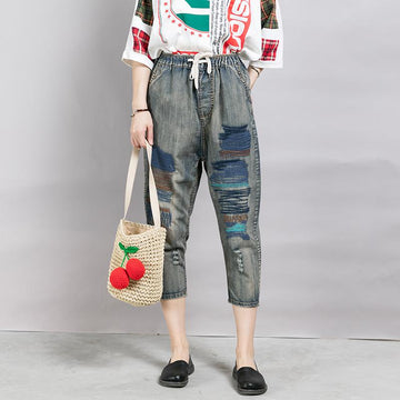 Casual Line Embroidery Frayed Nostalgic Jeans