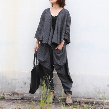 Buykud Irregular Stripe Short Coat And Casual Pants