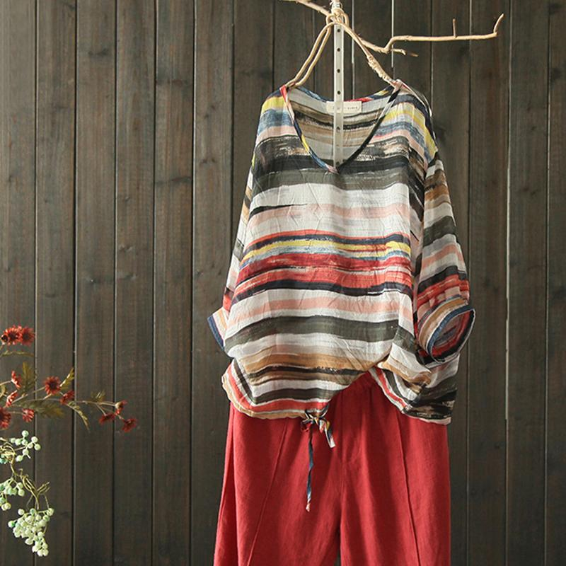 Plus Size - Cotton Retro Striped Long Sleeve Blouse