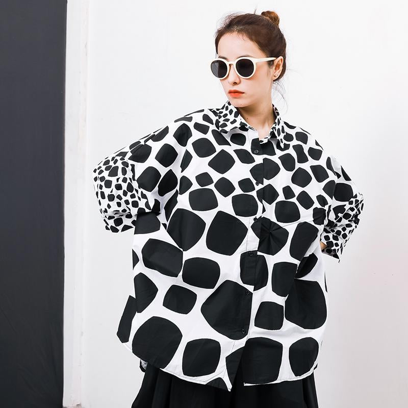 Batwing Sleeve Polka Dot Shirt Coat