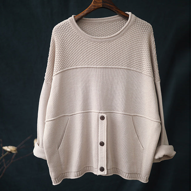 Buykud Round Neck Solid Color Knitted Shirt