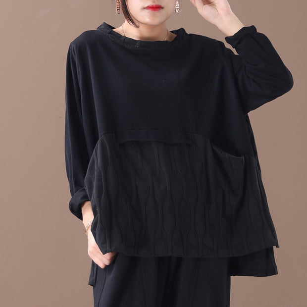 Buykud Loose Split Hem Spliced Long Sleeve Blouse