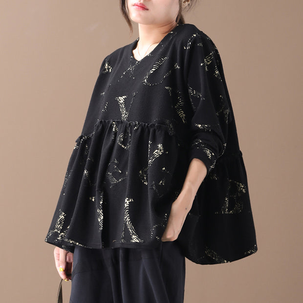 Buykud Agaric Lace Pleated Long Sleeve Loose Blouse