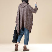 Double-Breasted Three Quarter Sleeve Hoodies Pockets Coffee Coat