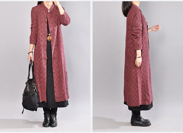 Casual Stand Collar Single Breasted Lattice Wine Red Coat