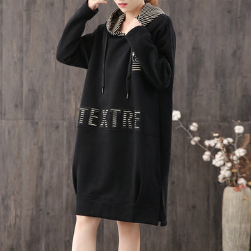 Buykud Cartoon Bear Letter Hooded Pullover Dress