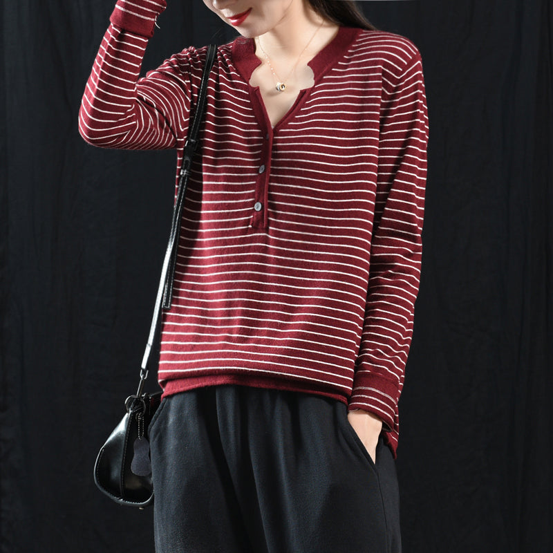 Buykud V-Neck Striped Long Sleeve Casual Blouse