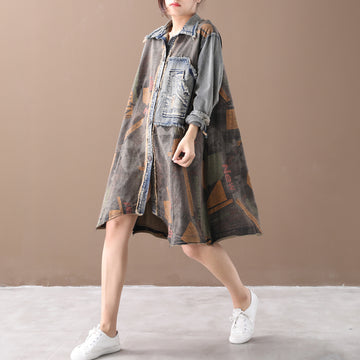 Buykud Patchwork Printed Single Breasted Casual Dress